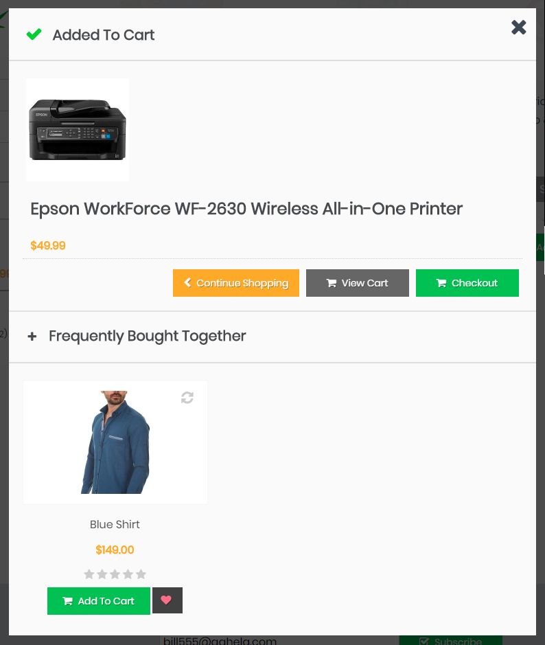 Add To Cart Popup example